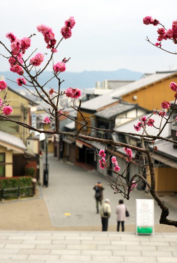 Matsubara-dori gata i Kyoto i morgonen Mest shoppar stänger sig fortfarande arkivbild
