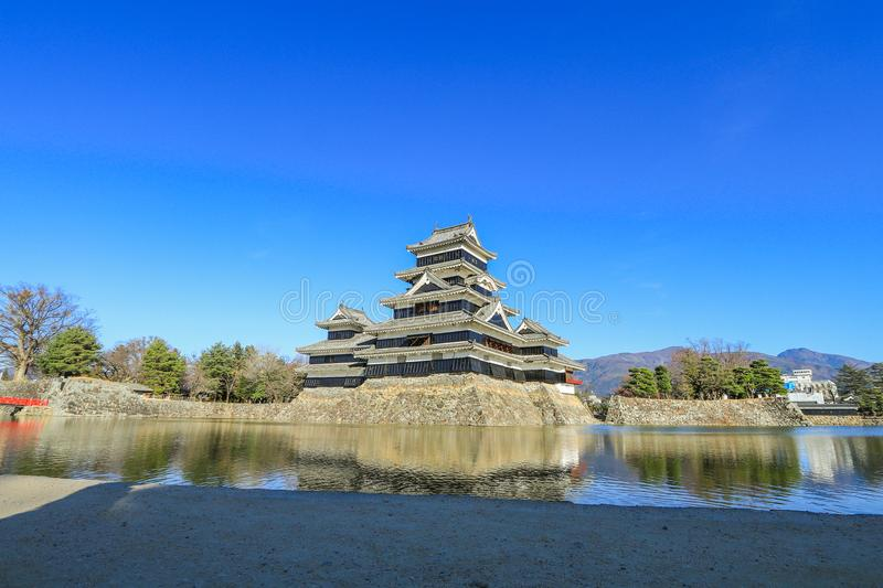Matsumoto castle against on blue sky background in winter ,One stock photo