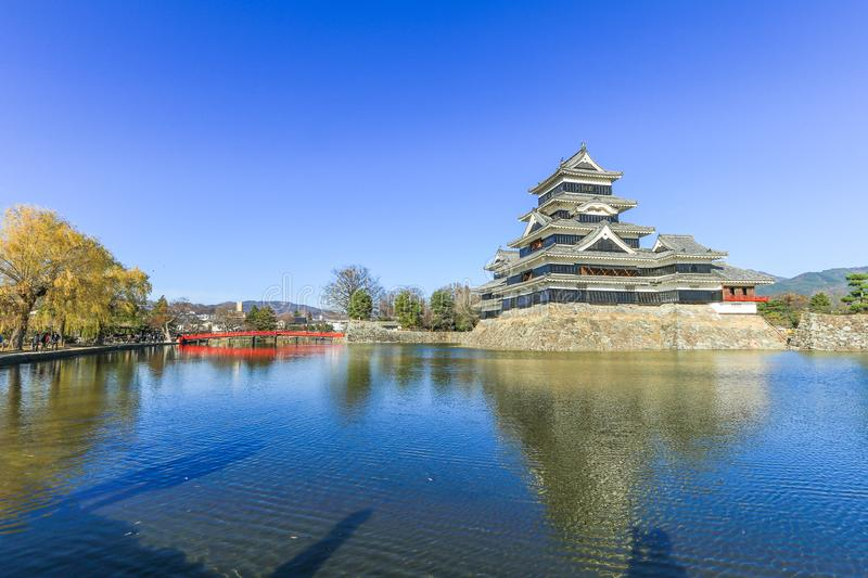 Matsumoto castle against on blue sky background in winter ,One royalty free stock photo