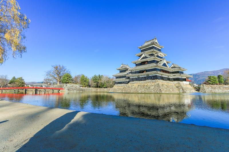 Matsumoto castle against on blue sky background in winter ,One of famous place in Matsumoto city ,Nagano , Japan royalty free stock images