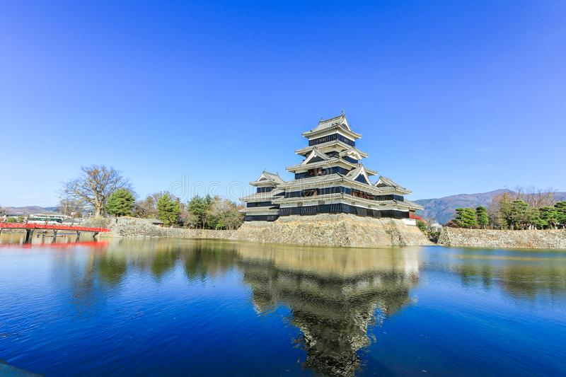 Matsumoto castle against on blue sky background in winter ,One stock images