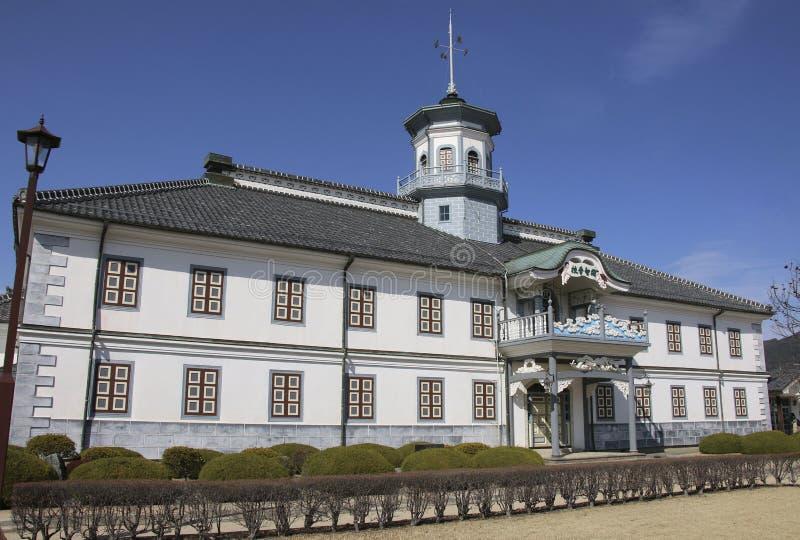 MATSUMOTO, JAPAN - MAART 26, 2019: Oud Kaichi School in Matsumoto, Japan stock foto