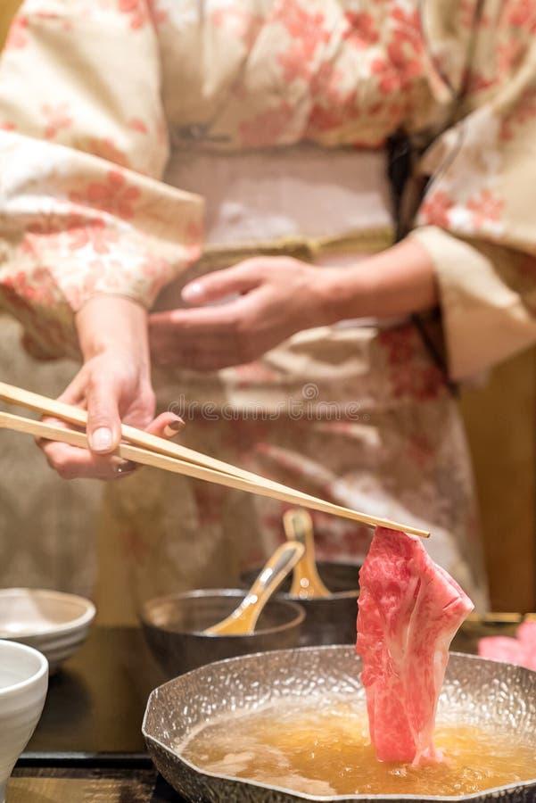 Matsusakarundvlees Shabu stock fotografie
