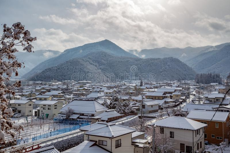 Matsushiro, Japón en la nieve imagen de archivo