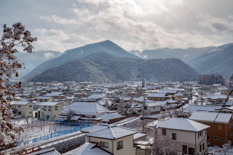 Matsushiro, Japan in the snow stock image