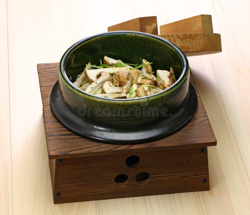 Matsutake japonês gohan, arroz cozinhado com cogumelo do matsutake fotografia de stock
