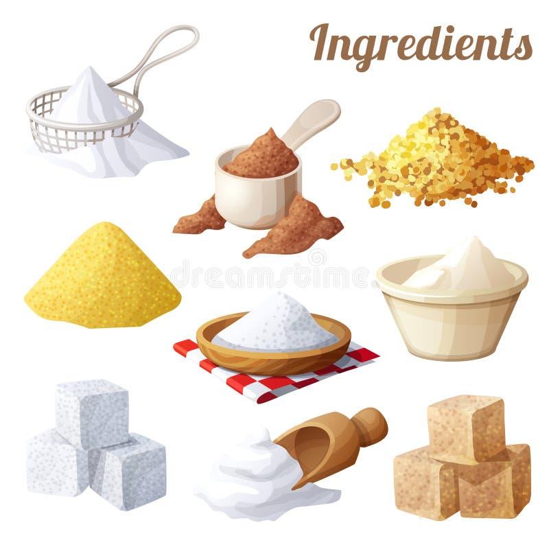 matsymboler ställde in Ingredienser för matlagning stock illustrationer
