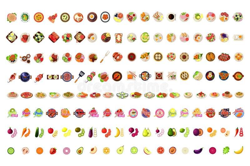 Matsymboler stor uppsättning, frukter, grönsaker, BBQ, pizza, Smoothie, sushi, glass, illustration för hamburgareetikettvektor vektor illustrationer