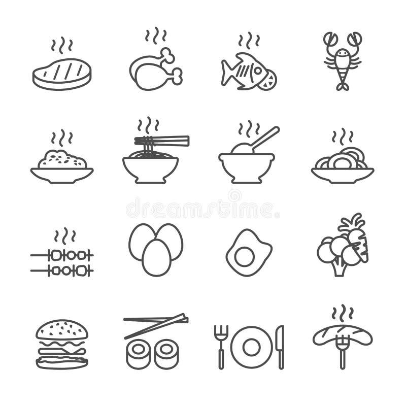 Matsymbolsuppsättning, linje version, vektor eps10 stock illustrationer