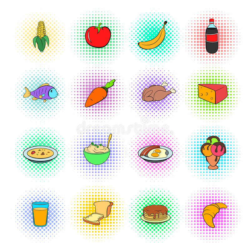 Matsymbolsuppsättning, pop-konst stil royaltyfri illustrationer