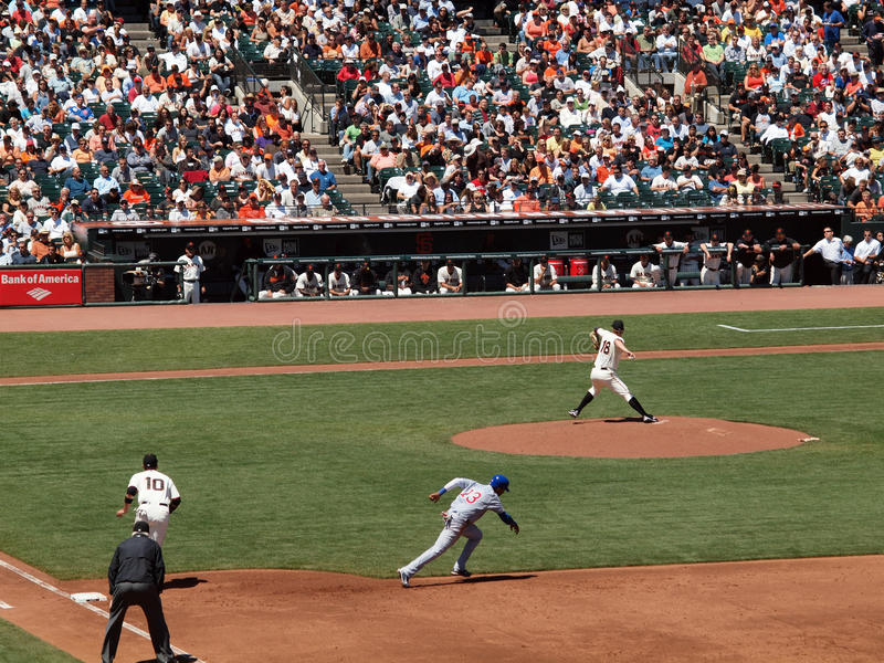 Download Matt Cain Throws As Starlin Castro Runs To Steal Editorial Stock Photo - Image: 15587303