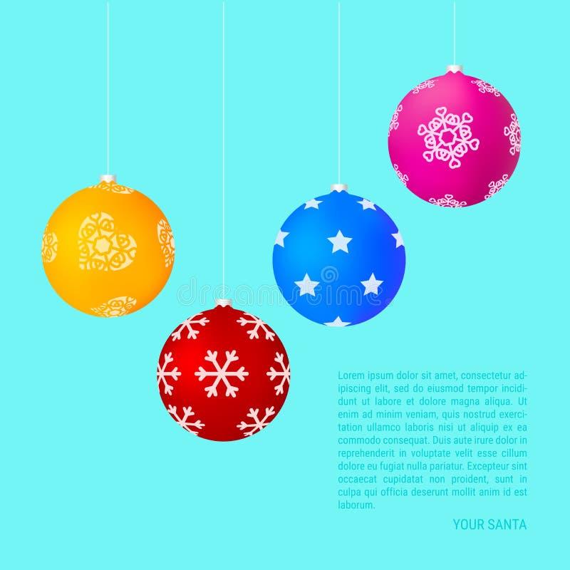 Matt Colorful Hanging Christmas Balls con diversos modelos Fondo de la Navidad y del A?o Nuevo Ilustraci?n del vector stock de ilustración