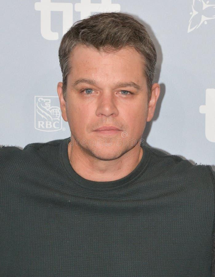 Matt Damon bij van de persconferentietoronto van ` Suburbicon ` de Internationale Film stock foto's