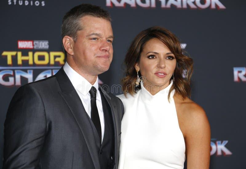 Matt Damon e Luciana Barroso foto de stock