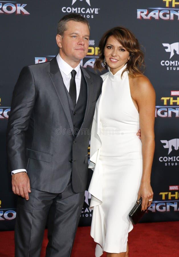 Matt Damon e Luciana Barroso fotografia de stock
