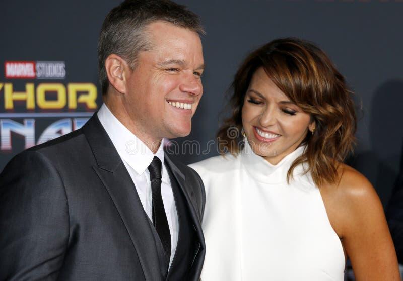 Matt Damon e Luciana Barroso imagens de stock