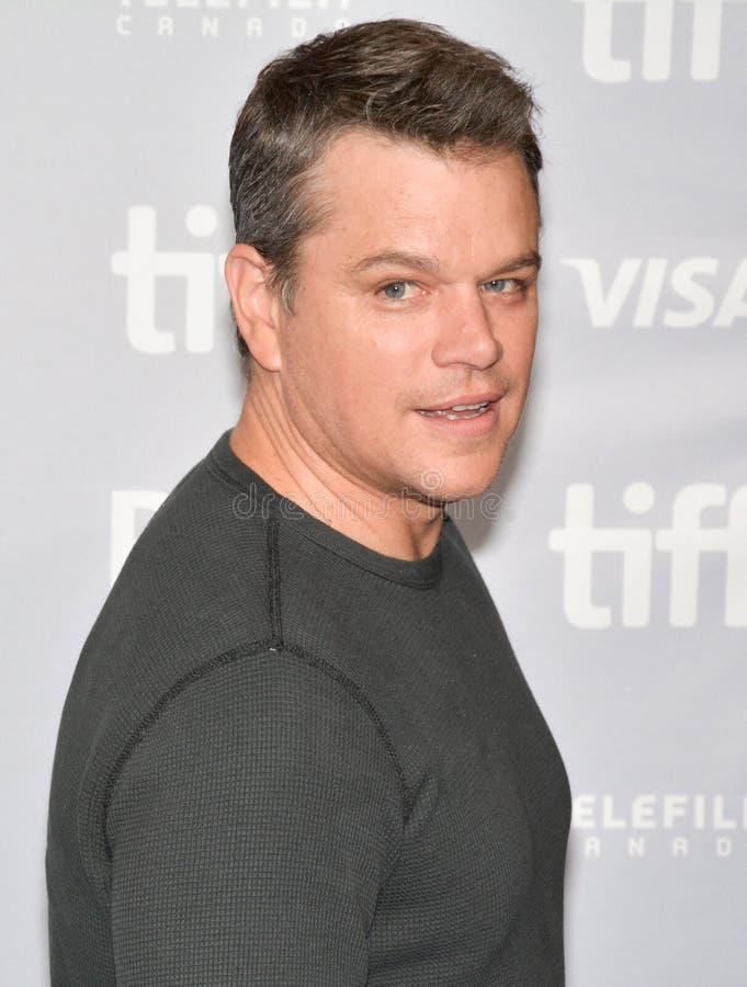 Matt Damon en la rueda de prensa internacional del festival de cine de Toronto imagen de archivo libre de regalías