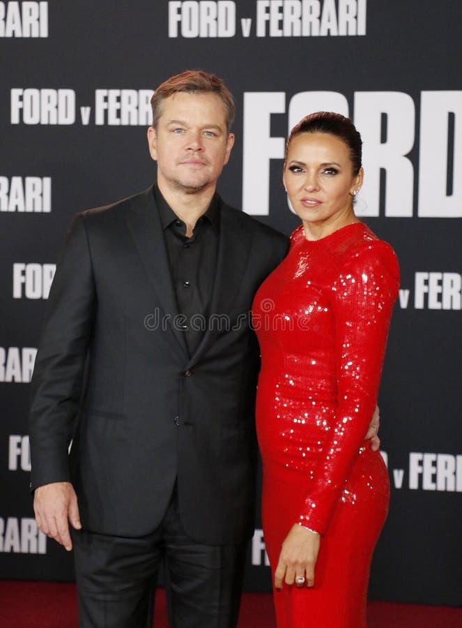 Matt Damon and Luciana Barroso stock photography