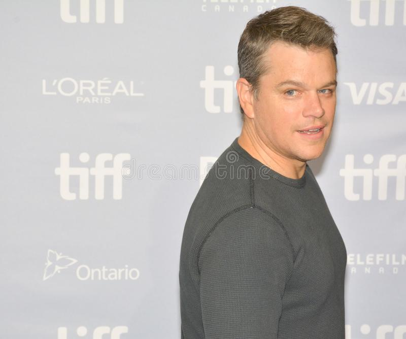 Matt Damon na conferência de imprensa do ` de Suburbicon do ` durante o filme 2017 do International de Toronto foto de stock royalty free
