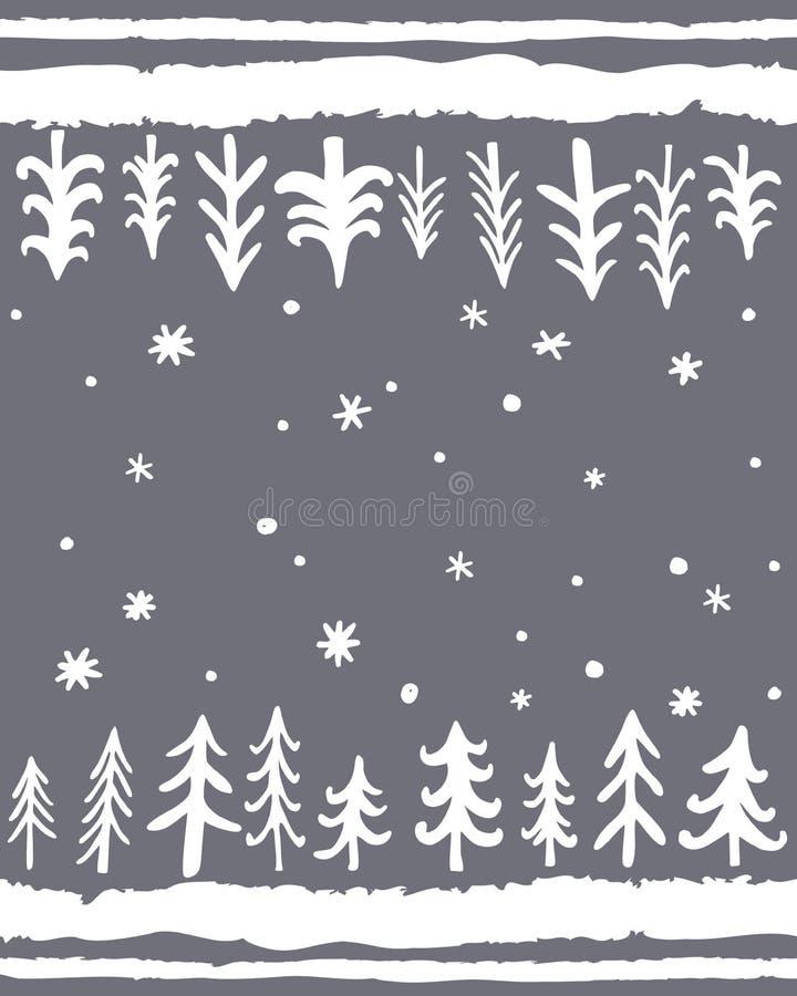 Matt design för vintergolv Vektorn hand-drog sömlösa modellen med klotter sörjer tTees Blom- skandinavisk nordisk bakgrund vektor illustrationer