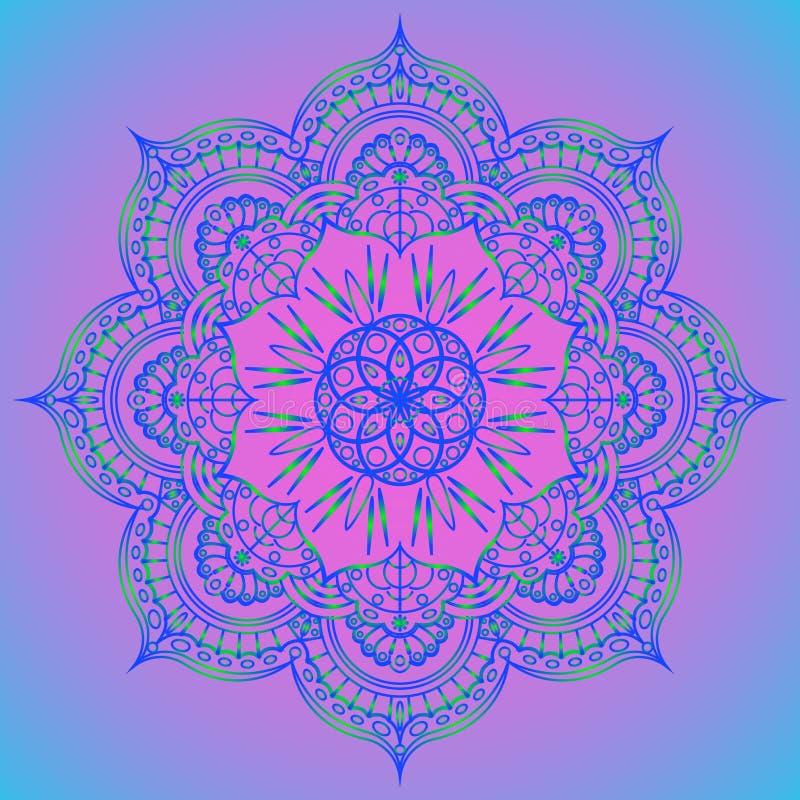 Matt design för yogamandala Färgrik mall för andlig reträtt- eller yogastudio Indisk blom- paisley modell Isolerad vektor stock illustrationer