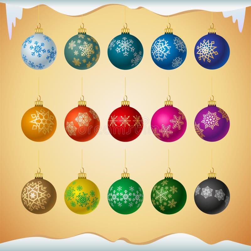 Matt färgade julbollar med snöflingaprydnaden stock illustrationer