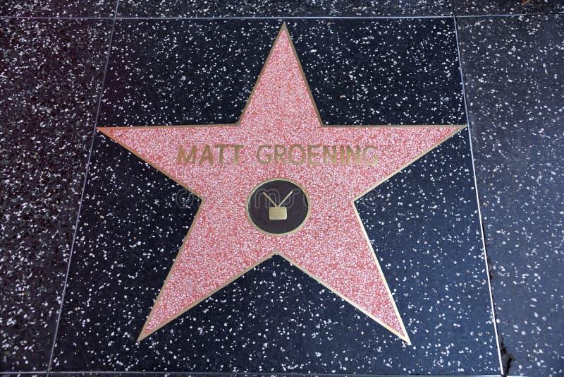 Matt Groening skapare av Simpsonsen, stjärna på Hollywood Wa royaltyfri fotografi