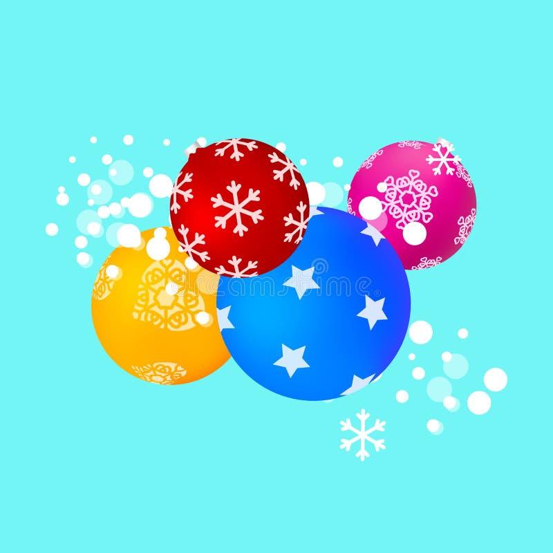 Matt Kolorowe Abstrakcjonistyczne Bożenarodzeniowe piłki z Różnymi wzorami Bo?e Narodzenia i nowego roku t?o r?wnie? zwr?ci? core ilustracja wektor