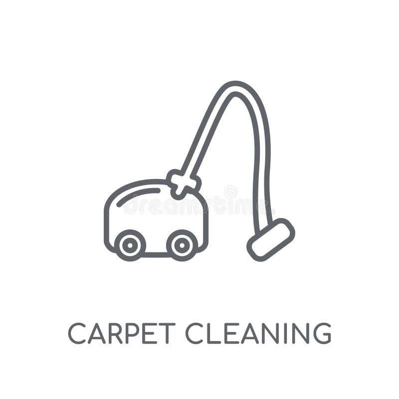 Matta som gör ren den linjära symbolen Modern logo för översiktsmattlokalvård stock illustrationer