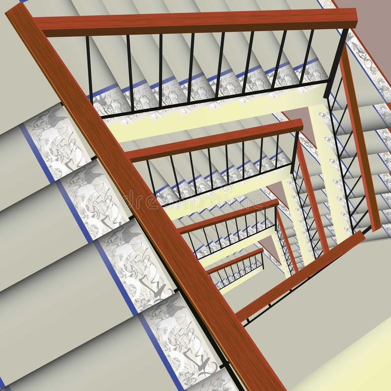 Mattad trappuppgång arkivbild
