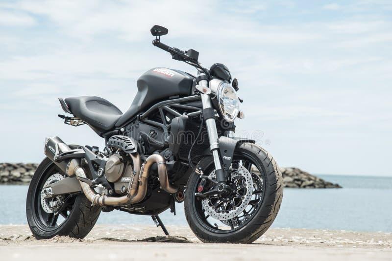 Matte Black Ducati Monster 821 royalty-vrije stock foto's