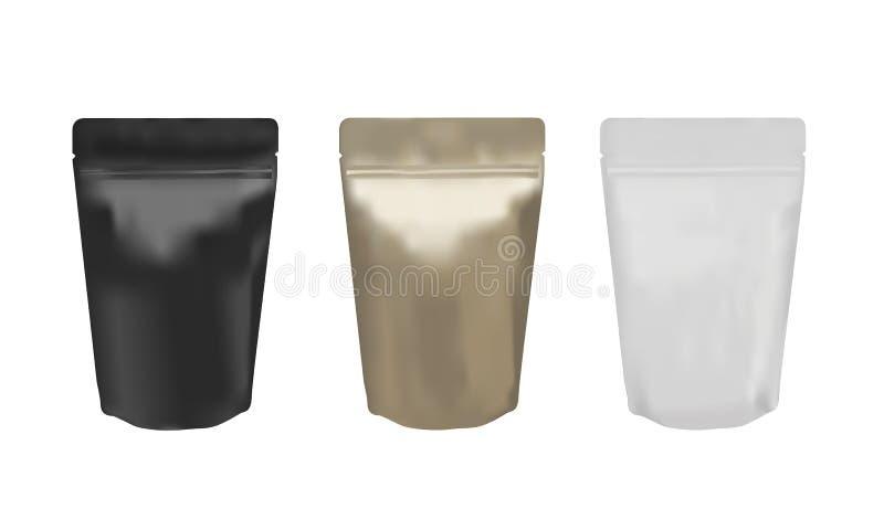 Matte black, gold and white ziplock bags stock illustration