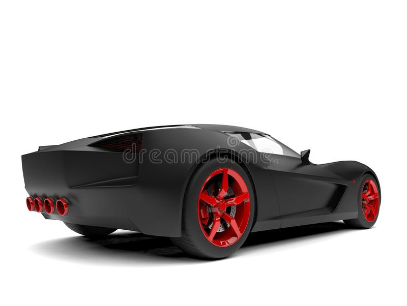 Matte black super sports concept car with red rims and details - back view. Isolated on white background royalty free illustration