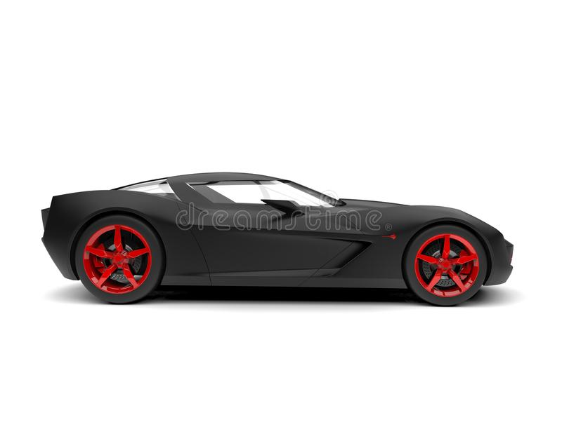 Matte black super sports concept car with red rims and details. Isolated on white background royalty free illustration