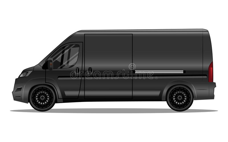 Matte black van with black alloy rims. And blank space on the side for your text or logo. Detailed vector illustration stock illustration