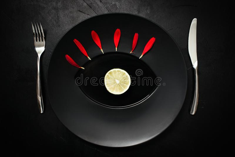 Matte cutlery czerni półkowego tła kreatywnie sztuka obrazy royalty free