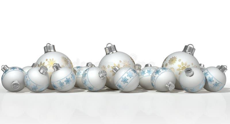Matte White Christmas Baubles fleuri illustration libre de droits