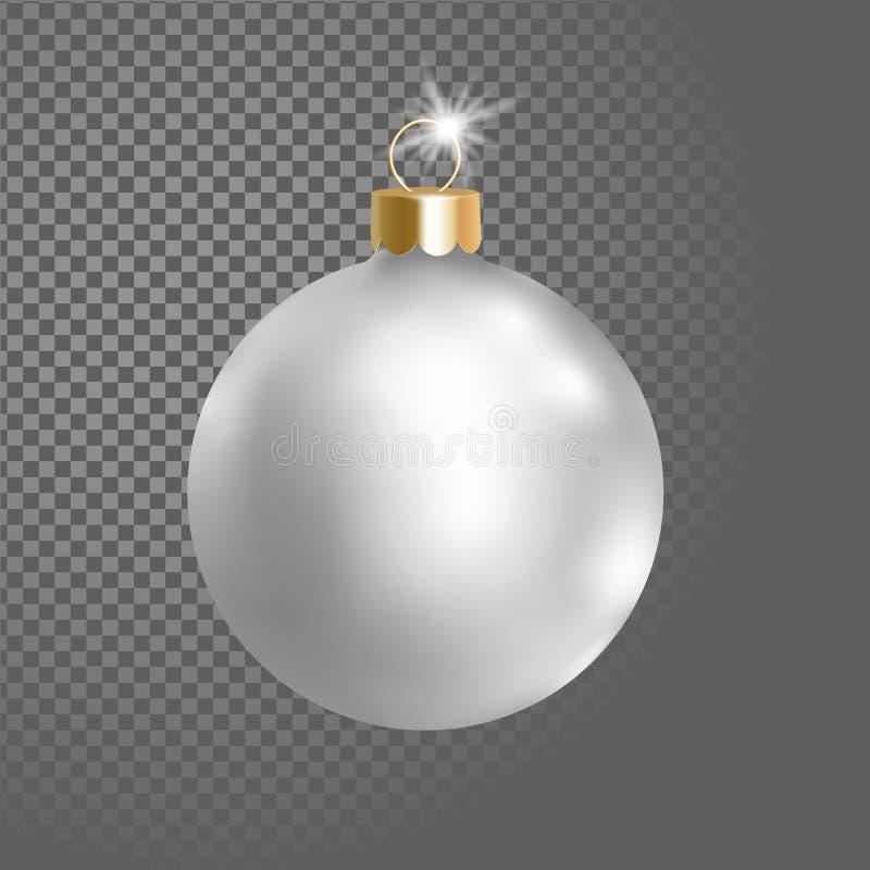 Matted белое серебряное украшение дерева шарика рождества 3d реалистическое на прозрачном элементе дизайна предпосылки ново бесплатная иллюстрация
