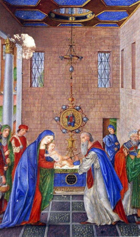 Matteo da Milano: miniaturas del breviario del ` Este de Alfonso I d: Circuncisión de Cristo foto de archivo libre de regalías