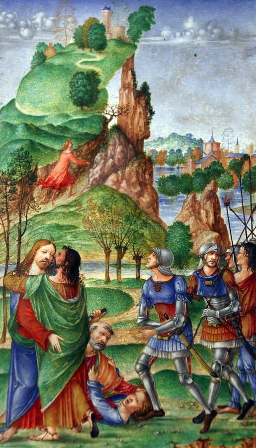 Matteo da Milano : miniatures du bréviaire d'Alfonso I d Este : Baiser de judas photographie stock