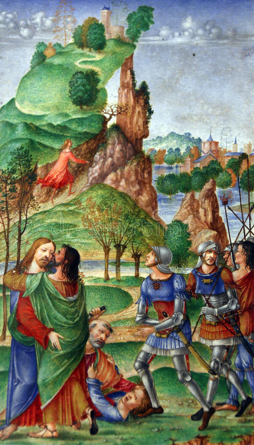 Free Matteo Da Milano: Miniatures From The Breviary Of Alfonso I D Este: Judas Kiss Stock Photography - 94864062