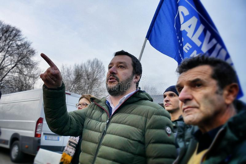 Matteo Salvini leader of italian Lega Party and nowadays Minister of Internal Affairs meet supporters during electoral rally royalty free stock photo