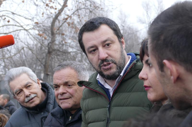 Matteo Salvini leader of italian Lega Party and nowadays Minister of Internal Affairs meet supporters during electoral rally royalty free stock photos