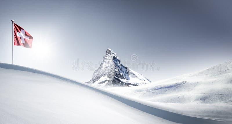 Matterhorn με τη σημαία το χειμώνα στοκ φωτογραφίες με δικαίωμα ελεύθερης χρήσης