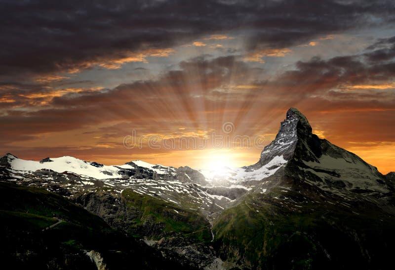 Matterhorn. Sunrise on the Matterhorn - Swiss Alps royalty free stock images