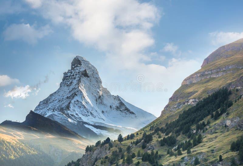 Matterhorn against sunset in Swiss Alps, Zermatt area, Switzerland royalty free stock photo