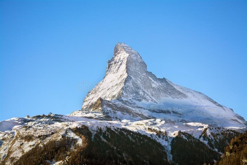 Matterhorn, Ansicht von Zermatt lizenzfreie stockfotografie