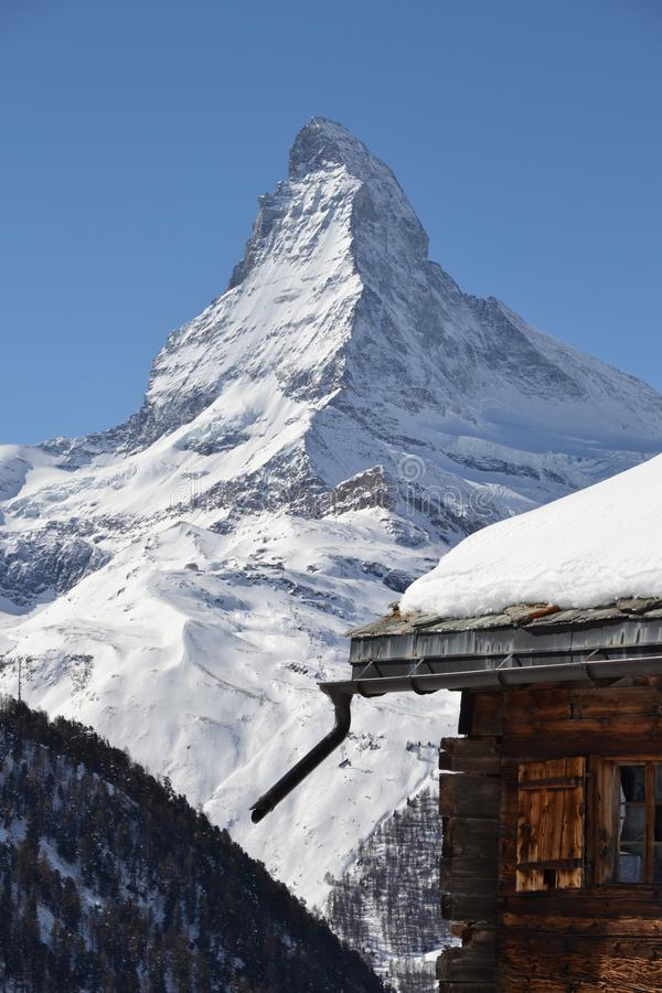 The Matterhorn with blue sky stock images