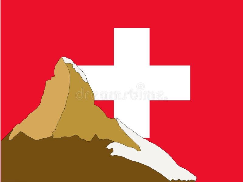 Matterhorn en Zwitserse Vlag royalty-vrije illustratie