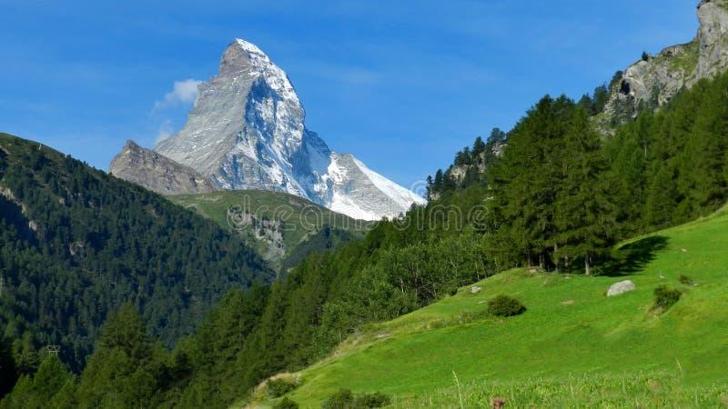 Matterhorn. Famous Matterhorn summit from Zermatt stock image